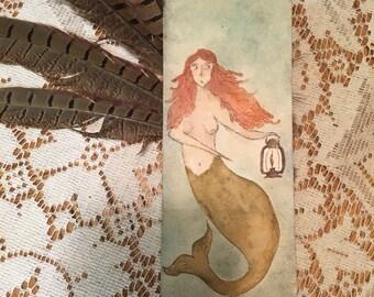 Mermaid Art Illustration Flowers Essential Oil Crystals Watercolor Painting