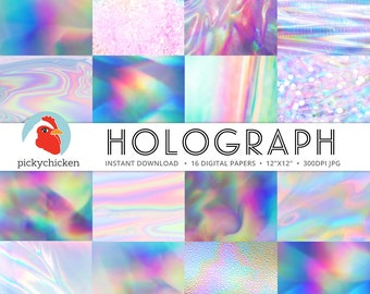Holograph Digital Paper -  iridescent holographic pastel abstract neon bokeh holo space photography backdrop Instant Download 8101