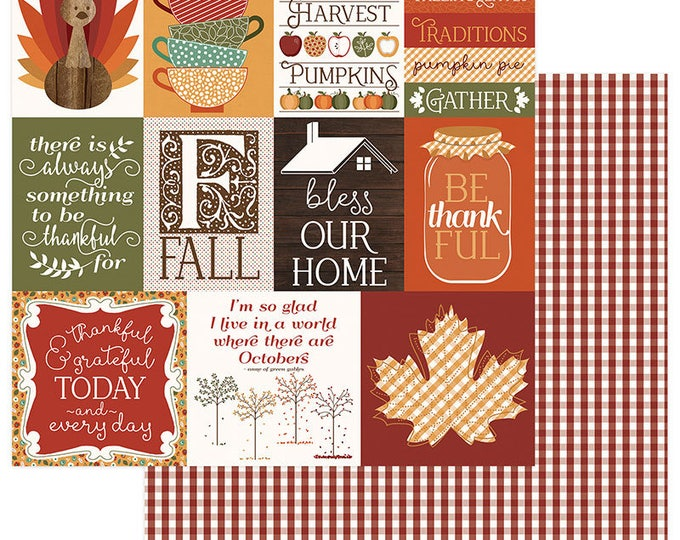 2 Sheets of Photo Play AUTUMN ORCHARD 12x12 Scrapbook Cardstock Paper - Thankful