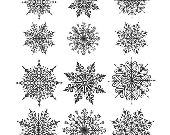 New! Tim Holtz MINI SWIRLY SNOWFLAKES Holiday Christmas Cling-Mount Rubber Stamp Set by Stampers Anonymous CMS320