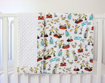 Dr. Seuss Baby Blanket, Minky Baby Blanket, Dr. Seuss Baby, White Baby Blanket, Dr. Seuss Minky Baby Blanket, Dr. Seuss, Baby Blanket
