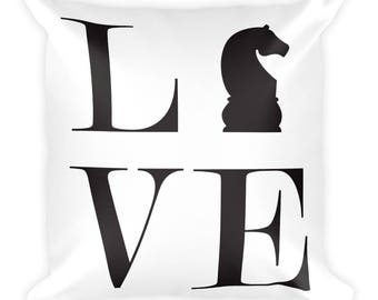 Square Pillow - Live Love Chess Black Knight Pillow