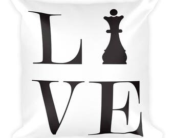 Square Pillow - Live Love Chess Black Queen Pillow