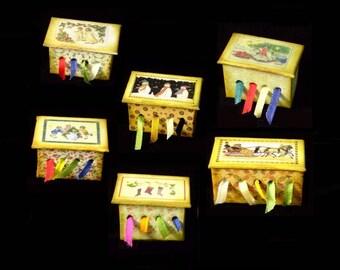 Miniature Ribbon Box OOAK - Christmas (Winter) Themes  - 1/12 scale