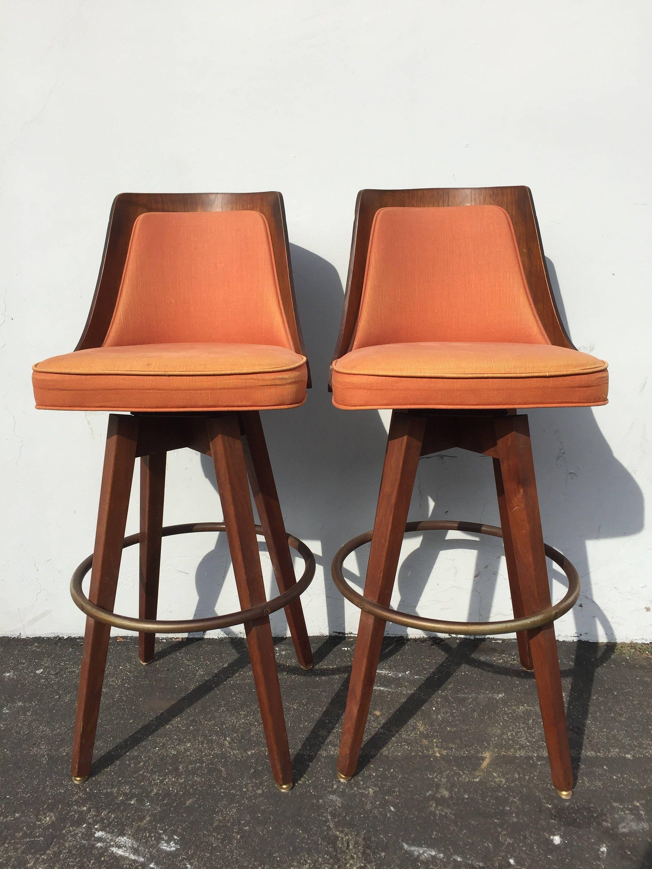 Set Of Bar Stools 2 Swivel Stool Danish Style Chairs Mid