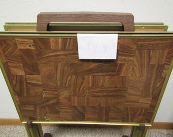Set of 4 TV Trays with Storage Rack *  folding table trays* Wood grain patchwork Design * Set # 4** TV table