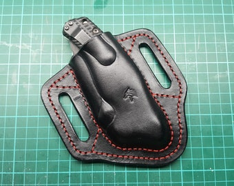Leather pancake sheath pouch holster  for  Zero Tolerance ZT0300,301,302, 0200, 0350 and 0560 .