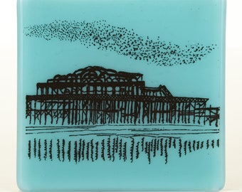 West Pier and Murmuration Glass Coaster, Brighton and Seaside Themed Drinks Holders, Made to order in your choice of colour