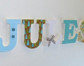 Name - JULES - wooden - nursery letters, baby - JULES