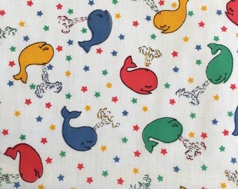 Vintage WHALE print cotton fabric 1.4m