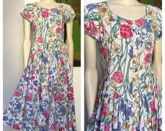 80's Vintage floral LACE UP pure cotton tea dress M - L