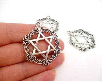 """Silver Tone Charm Pendant_ARA0654654.0/995_DS Charm_Silver_ of 35 mm / 1,38"""" _ pack 5 pcs"""