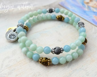 Aqua Gemstone Diffuser Bracelet | Jade + Amazonite Essential Oil Bracelet with Lava Stones | Aromatherapy Bracelet