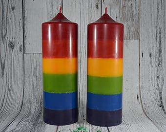 All Natural Soy Rainbow Pillar Candle. Rainbow Decor. Pride Candle.