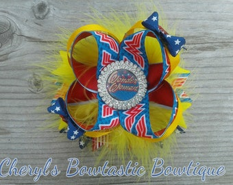Wonder Woman Set, Wonder Woman Costume, WW Tutu set, Wonder Woman bow, Over the top bow, Twisted boutique bow. Choose your Favorite.