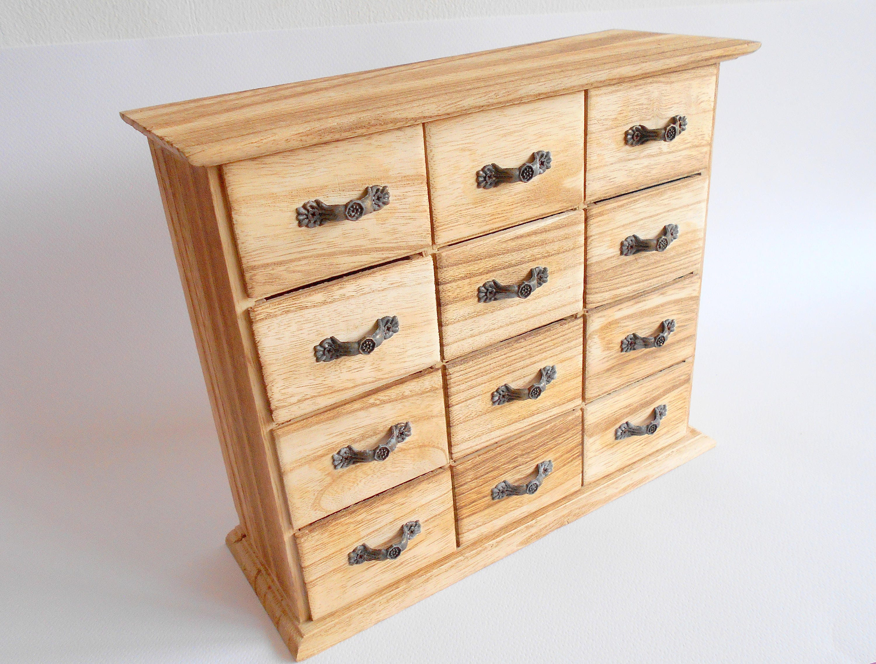 Wooden box with 12 drawers Jewelry Box Apothecary Cabinet