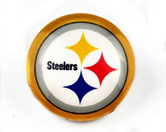 Pittsburgh Steelers Snap Button Charm, Steelers, Pro Football Charm, Steelers Charm, Pittsburgh Steelers, Qty: 1 Charm Attachment Included
