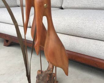 Mid Century Modern Teak And Brass Driftwood Pelican Reed Art Sculpture