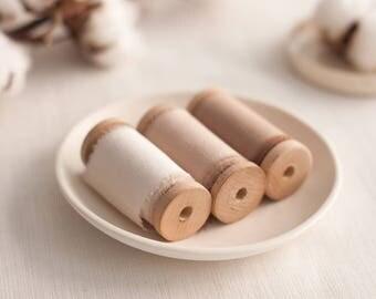 Ivory silk ribbon set, silk ribbon, hand dyed ribbon, Bouquet ribbon, vintage ribbon, gift wrap, floral wrap, ribbon, hand dyed ribbon