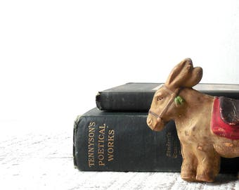 Little Donkey –Vintage Toy Animal Old Rubber Squeaky Toy, Art Supply, Assemblage, Aesops Fables Library Shelf Sitter /0638