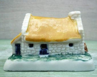 Vintage Shamrock Pottery Miniature Irish Cottage with Yellow Roof, Wade Whimsie Buildings