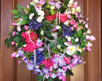 Summer Tulip Wreath, Wreaths for Front Door, Elegant Wreath, Front Door Wreath for Summer, Peony Wreath, XL Tulip Wreath, Etsy Summer Wreath