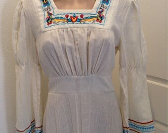Vintage Hippie Maxi Mexican Wedding Embroidered Dress Boho Festival