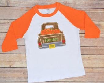 Boy pumpkin truck shirt, boy fall pumpkin raglan outfit, pumpkin patch shirt, toddler shirt, fall shirt, fall pictures, boy shirt