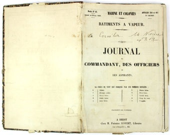 Antique Navy logbook, 1870s French captain rare and in good condition daily journal de bord