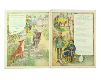 Antique French chromo prints, set of 2 Jean La Fontaine's Fables, tales. The fox and the grapes.The wolf and the dog