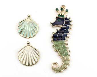 3 sea horse and shell  enamel and gold tone charm , 16mm to30mm #CH 462