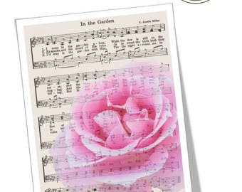 "Digital Print | Pink rose photograph & vintage hymn music - 8""x 10"" Vertical Image 
