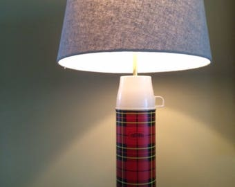 Red Plaid Thermos Lamp
