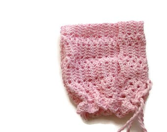 Pink Baby Bonnet Baby hat Crochet Bonnet Newborn