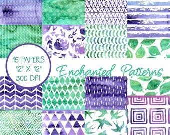 Watercolor Digital Paper, Purple and Green, Scrapbook Paper, Digital Paper Pack, Watercolor Scrapbook Paper