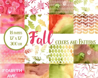 Fall Watercolor Papers, Fall, Watercolor, Autumn, Scrapbook Paper, Digital Paper Pack, Digital Scrapbook