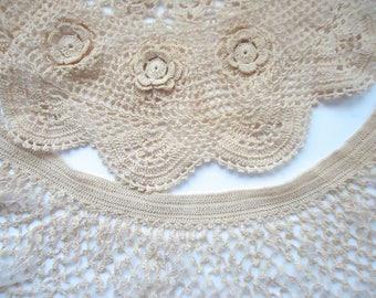 Vintage Cotton Crochet Collars for Altered Couture, Hand Made Crocheted Collars, Irish Crochet, Ecru, Off White Neckpieces, Creative Destash