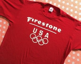 vintage shirt / 80s firestone tires shirt usa olympics / paper thin red jerzees single stitch made in usa XL / Harley Davidson motorcycles