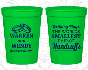 Wedding Rings, The Worlds Smallest Pair of Handcuffs, Imprinted Plastic Cups, Handcuffs, Wedding Rings, stadium cups (504)