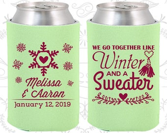 We Go to Together Like Winter and a Sweater, Wedding Decor, Winter Wedding, Snowflake Wedding, Christmas Wedding, Wedding Party Coolie (499)