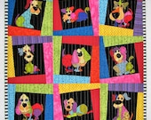 Modern Quilted Wall Hanging,Loralie Harris Dogs Wall Quilt, Dog Art Quilt, Gift for Dog Lovers, 21 in. x 21 in.,  Quiltsy Handmade