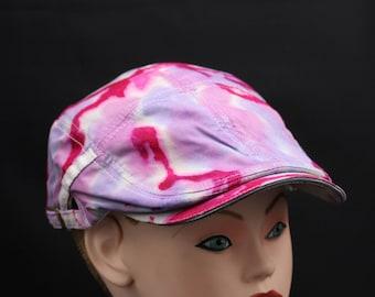 Tie Dye Flat Driving Samuel L Jackson Hat, OOAK Trippy Pink Ivy Cap
