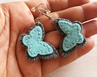 Light blue Butterfly Earrings, Butterfly Earrings dangles, Grey Blue Earrings, Butterfly gift for women, Nature inspired whimsical earrings