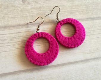 Pink Hoop Earrings, Magenta earrings, Lightweight earrings, Circle dangle earrings, Pink Gift for friend, Gift for sister, statement