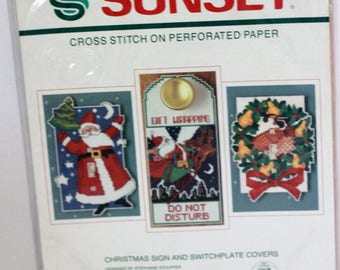 Sunset cross stitch on Perforated Paper kit #18308 Christmas Sign and Switchplate Cover Sealed Vintage 1990