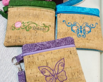 Handmade embroidered zippered bags