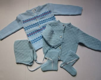 vintage knitted baby sweater set and knitted cardigan