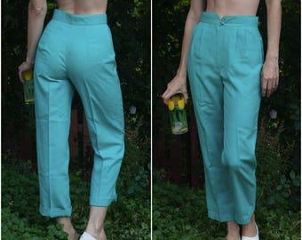 60s Straight Leg Pants // Pleated High-Waist Sea-Green Trousers w Waistband Detail  sz S / 26