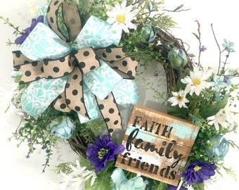 Everyday Wreath, Front Door Wreaths Spring, Grapevine Wreath, Year Round Wreaths, Year Round Wreaths for Front Door, Farmhouse Wreaths,