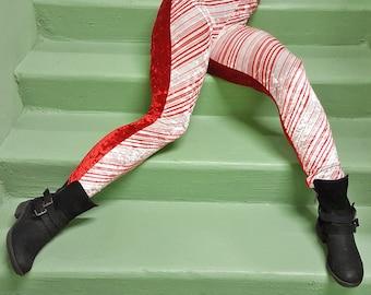 Candy Stripe Velvet Leggings